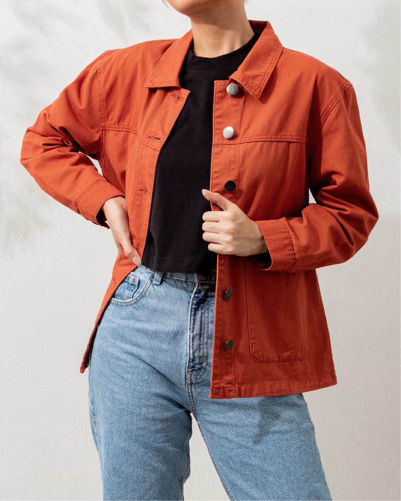 Everyday Cotton Twill Worker Jacket (Rust)