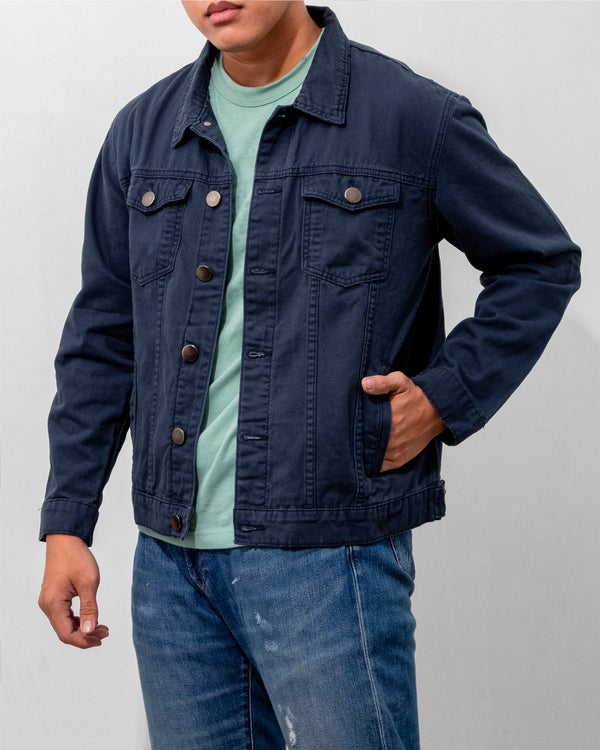 Everyday Cotton Twill Jacket (Navy Blue)