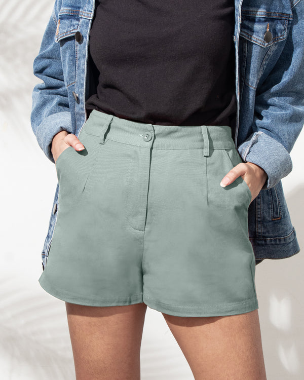 Everyday Cotton Twill Pleated Shorts (Mint)