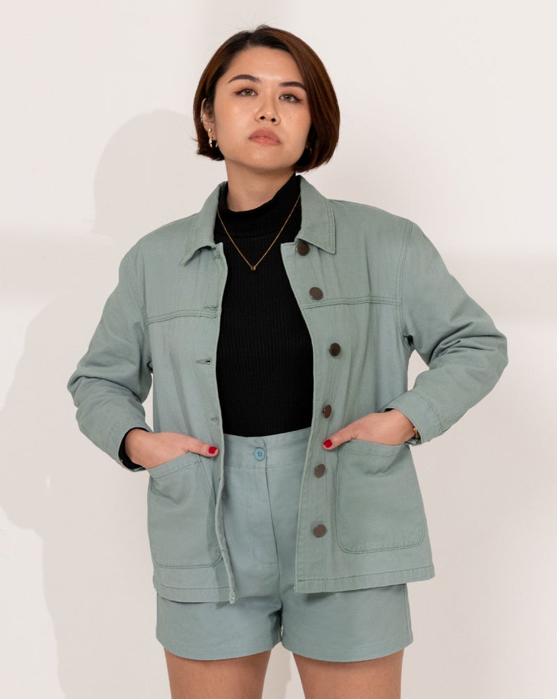 Everyday Cotton Twill Worker Jacket (Mint)