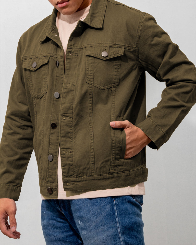 Everyday Cotton Twill Jacket (Army Green)