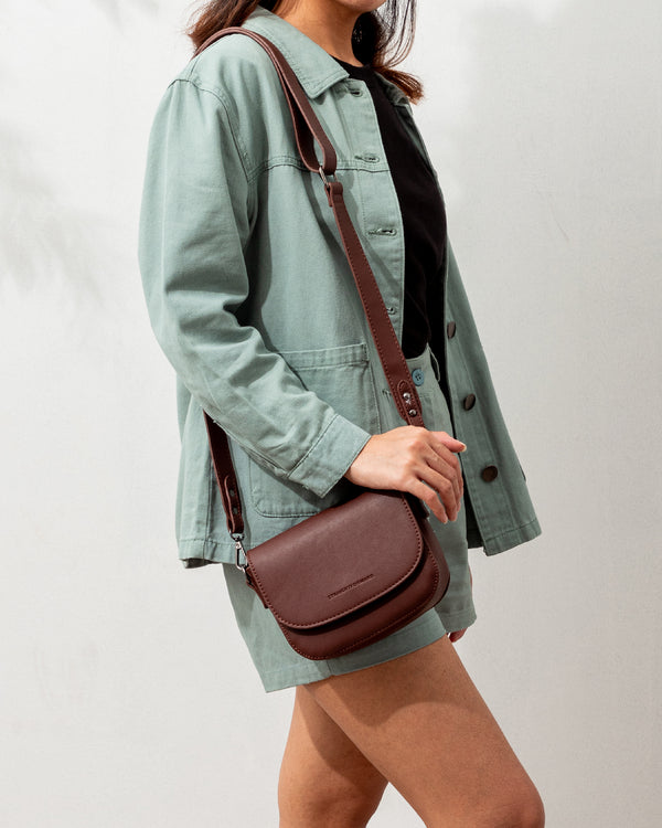 D.V.L. Mini Flap Sling Bag (Chestnut)