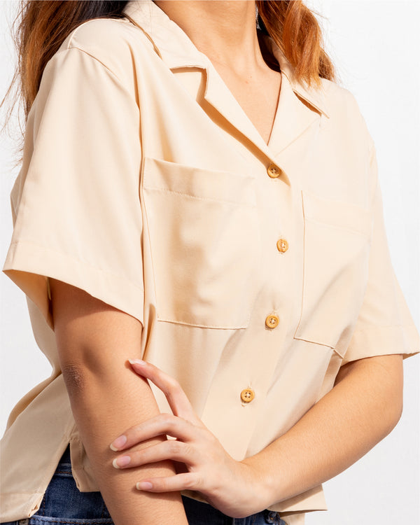 Women's Softblend Pocket Blouse (Mocha)