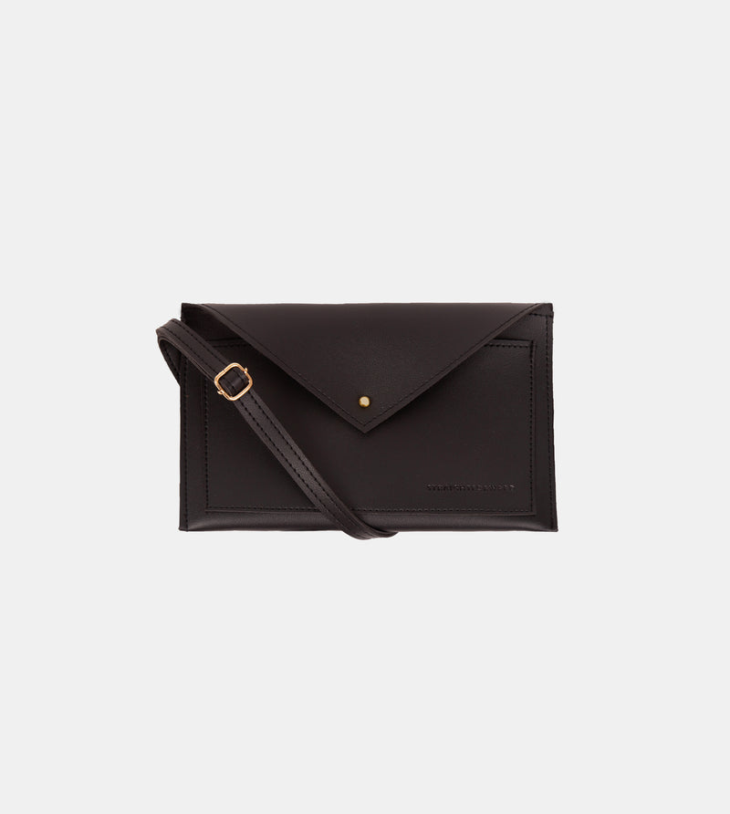 Daily Vegan Leather Envelope Pouch & Shoulder Bag (Black)