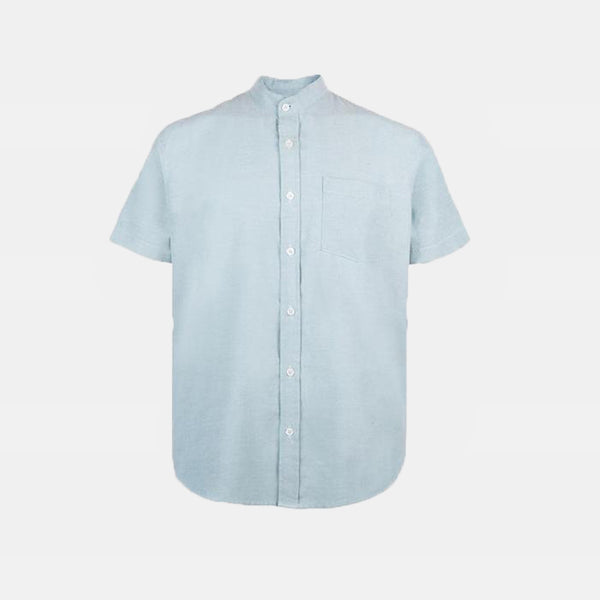 Japanese Chambray Mandarin Collar (Aqua)