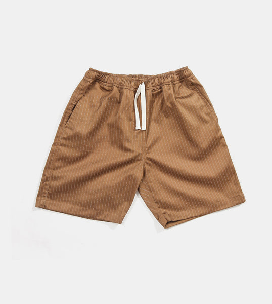 Premium Pin Stripes Shorts (Brown) - Product Shot