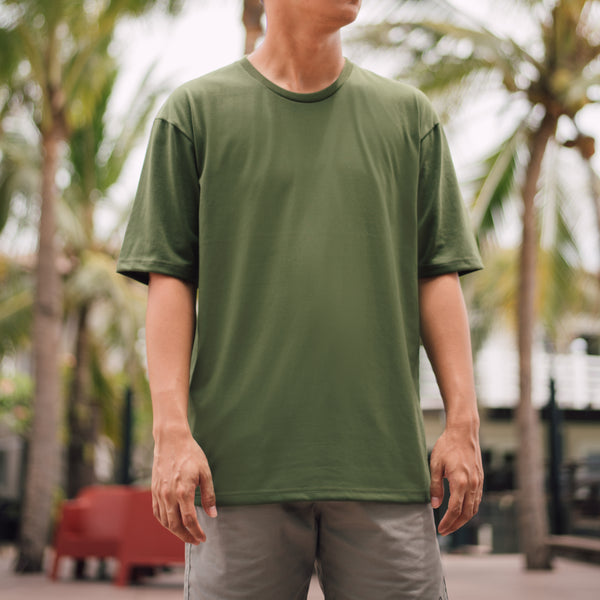 Weighted Blend Oversized Tee (Olive Green)