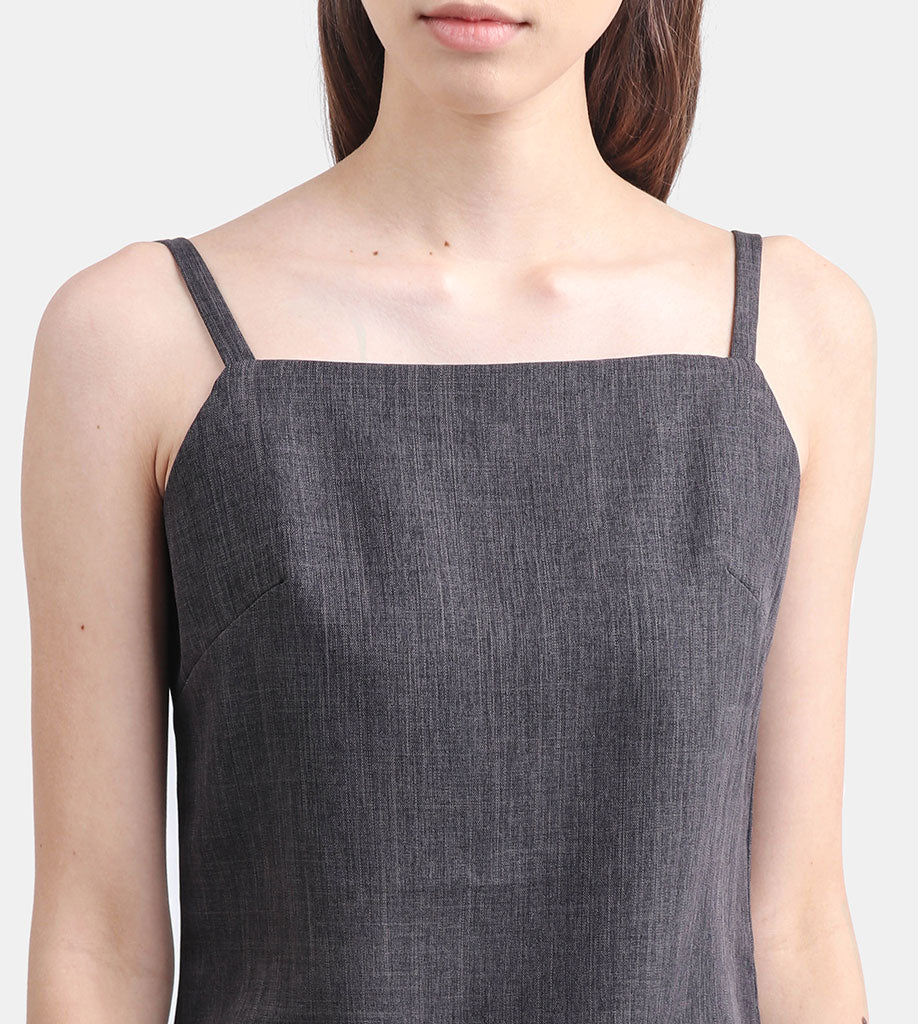 The Linen Square Neck Top (Charcoal)