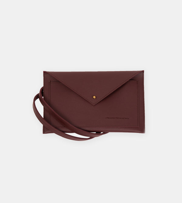 Daily Vegan Leather Envelope Pouch & Shoulder Bag (Wine)