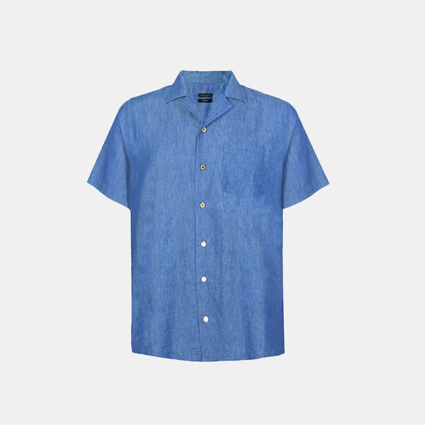 All-Day Denim Cuban Shirt (Blue)