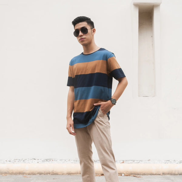 Essential Blend Paneled Tee (Slate Blue)