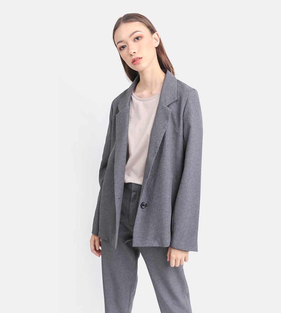 The Easy Tailored Blazer (Medium Grey)