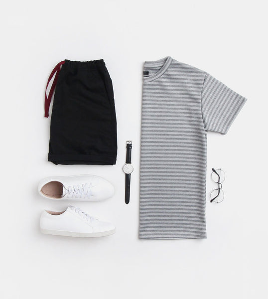 Oversized Striped Tee (Dark Gray)