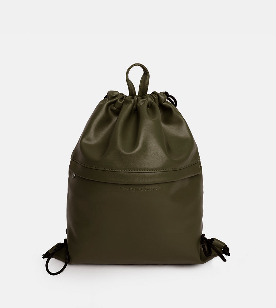 Leather Drawstring Bag (Fatigue) - Product Shot