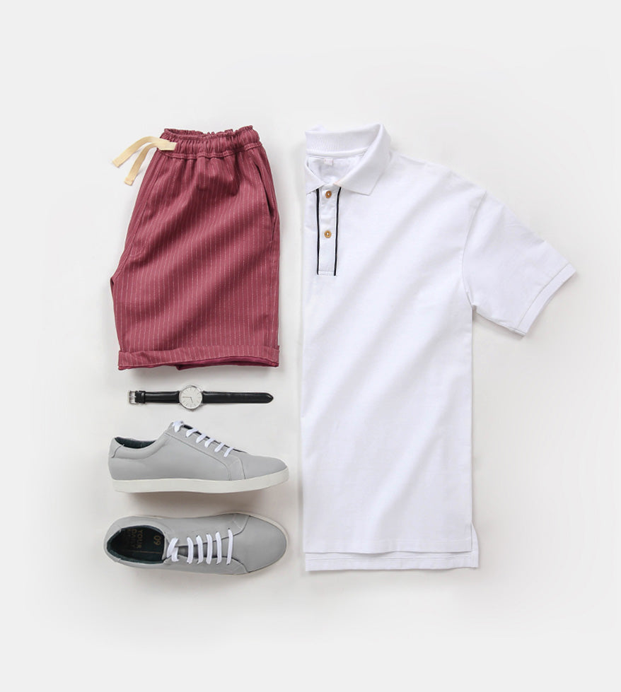Premium Pin Stripes Shorts (Old Rose) - Flatlay