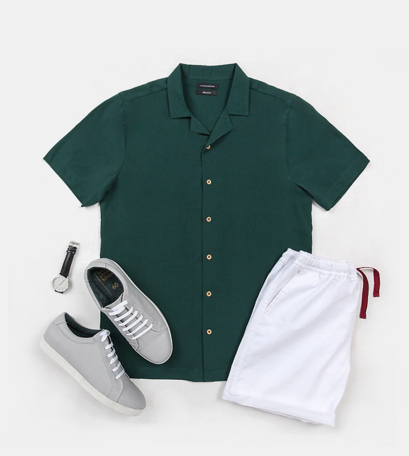 SuperSoft Crepe Shirt (Green) - Flatlay