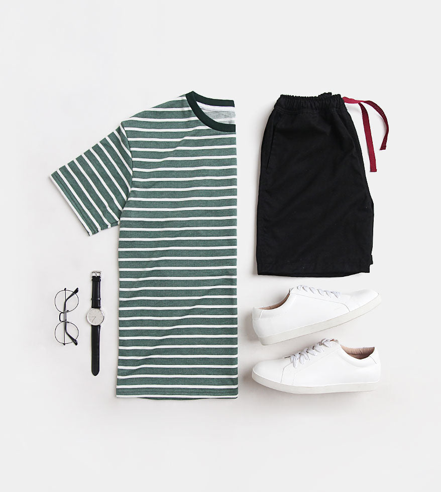 Striped Comfort Cotton Tee (Green)