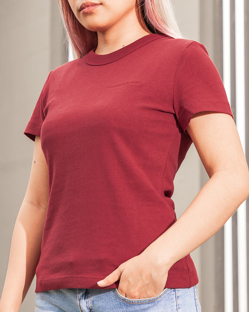 Women's Heavyweight Basic Tee (Maroon)