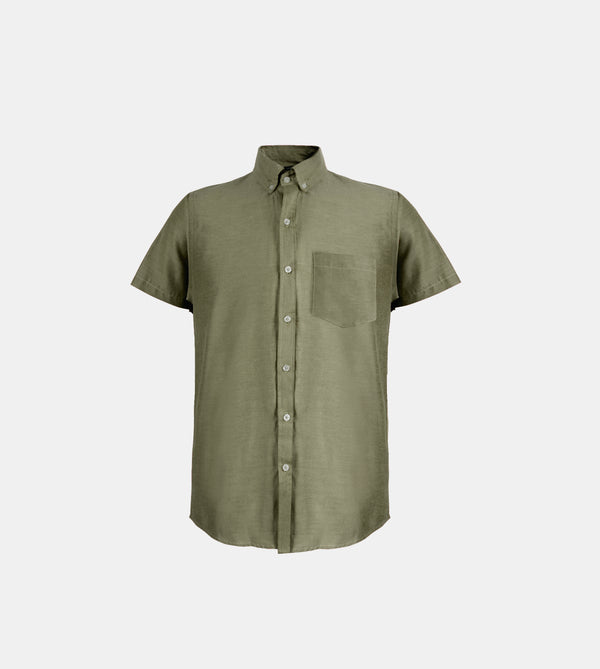 Japanese Chambray Work & Play Shirt (Olive Green)