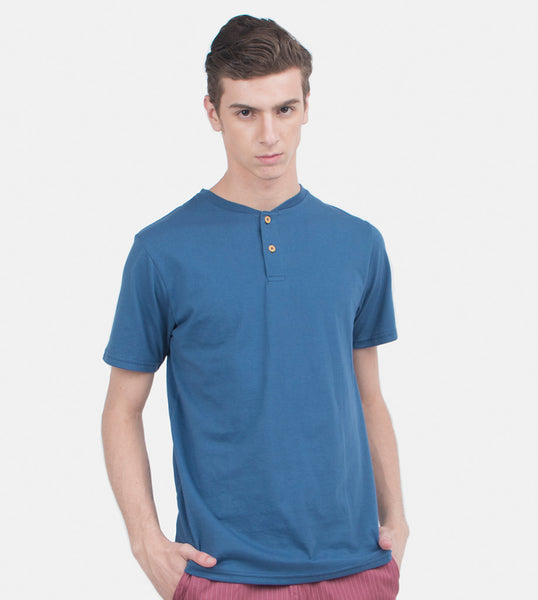 Henley Tee (Medium Blue)