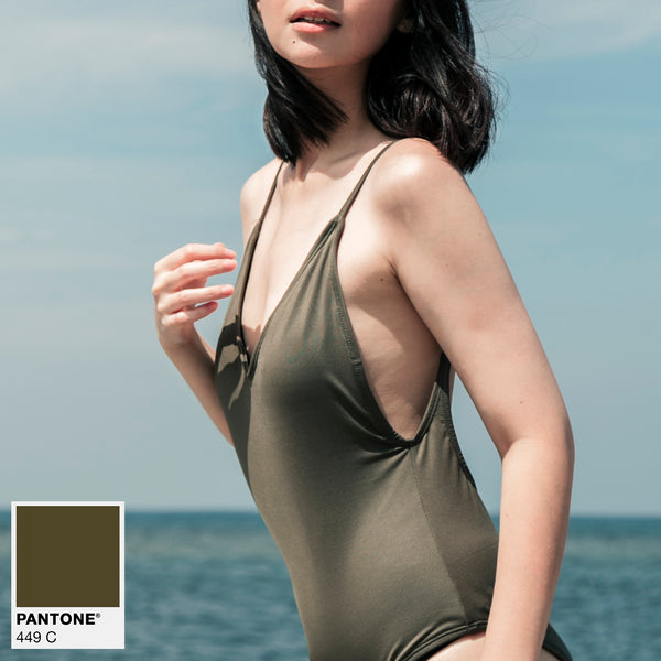 Signature V-Neck One Piece (Olive Green)