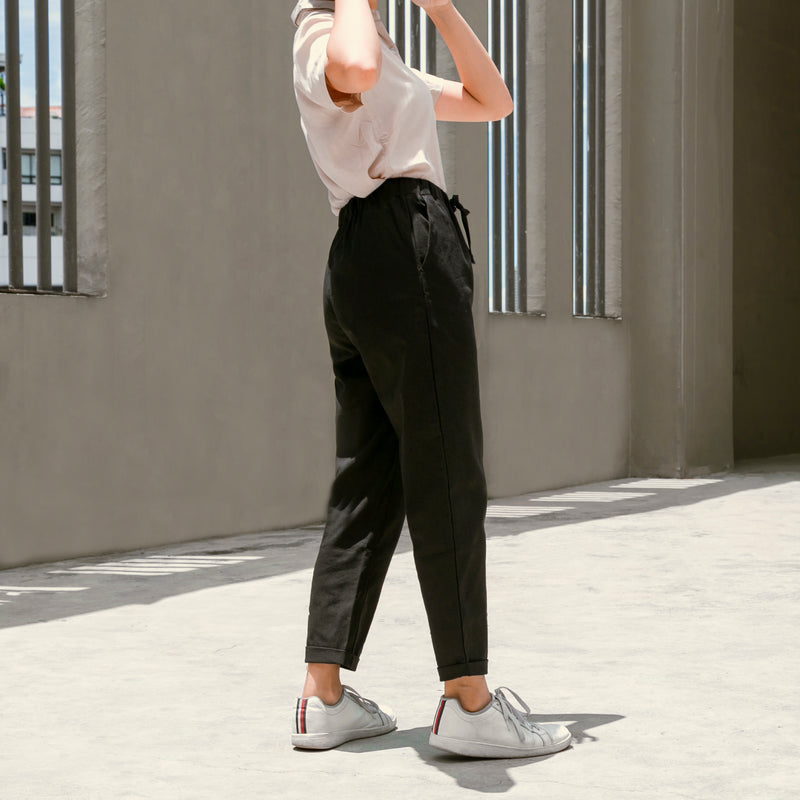 Relaxed Lux Linen Trousers (Black)
