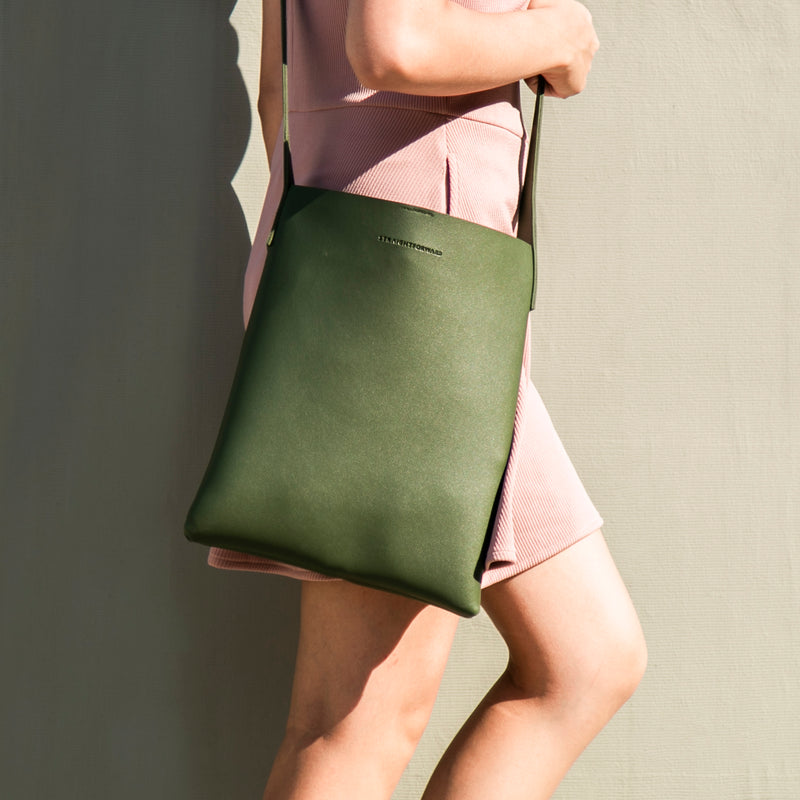 Daily Vegan Leather Tote Bag with Sling (Army Green)