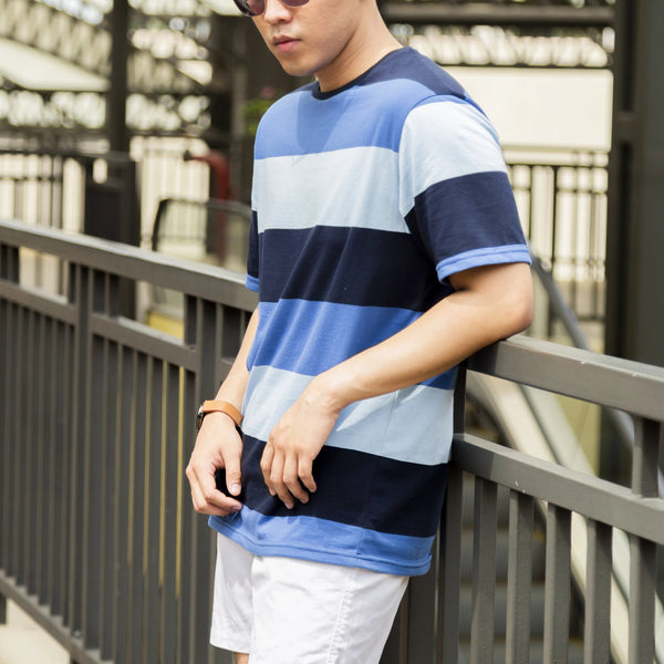 Essential Blend Paneled Tee (Ocean Blue)