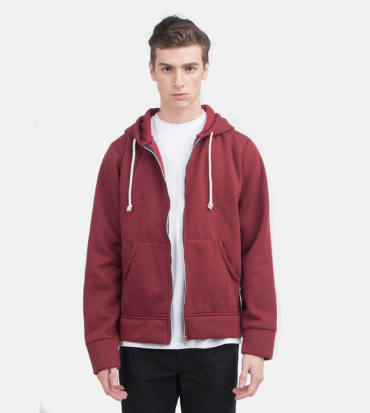Zip Hoodie (Wine) - Model Shot