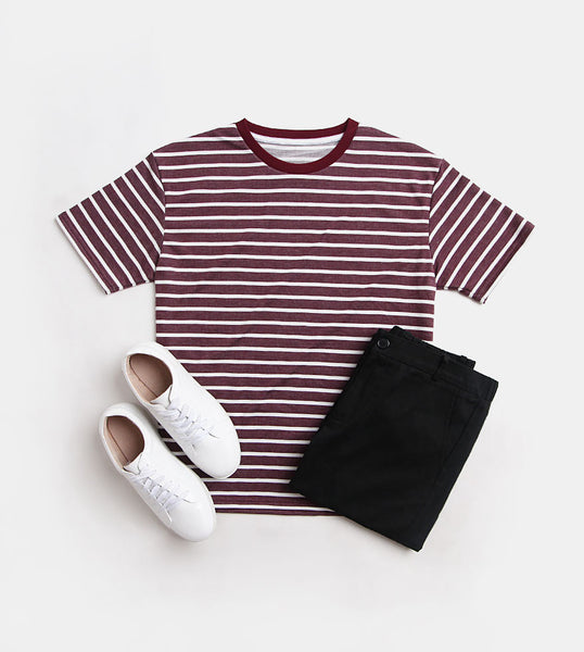 Striped Comfort Cotton Tee (Maroon)