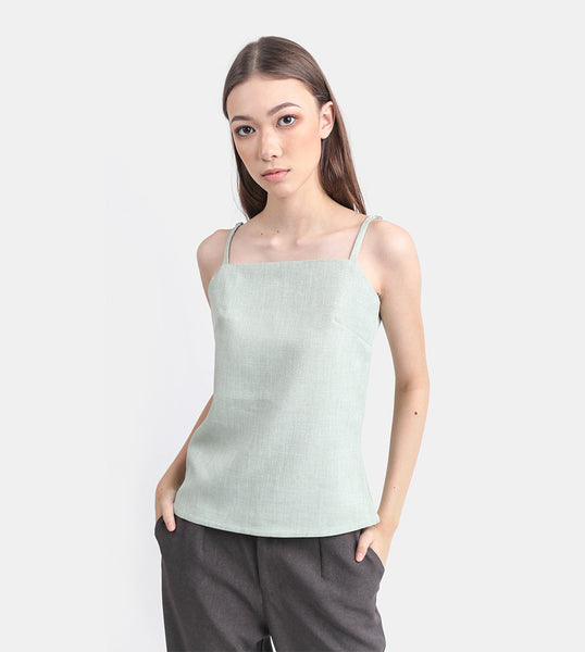 The Linen Square Neck Top (Mint)