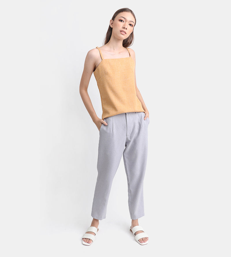 The Linen Square Neck Top (Mustard)