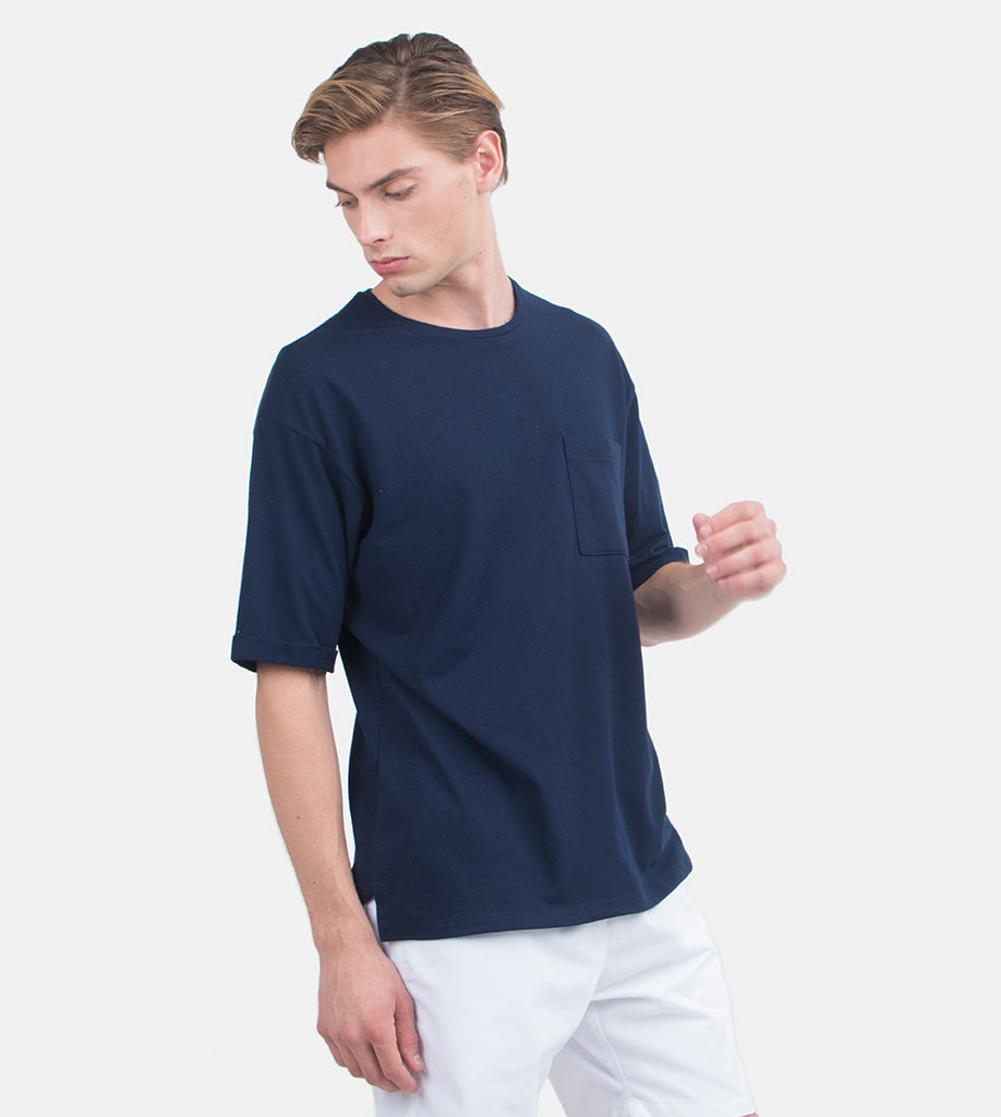 Folded Pocket Tee (Navy Blue)
