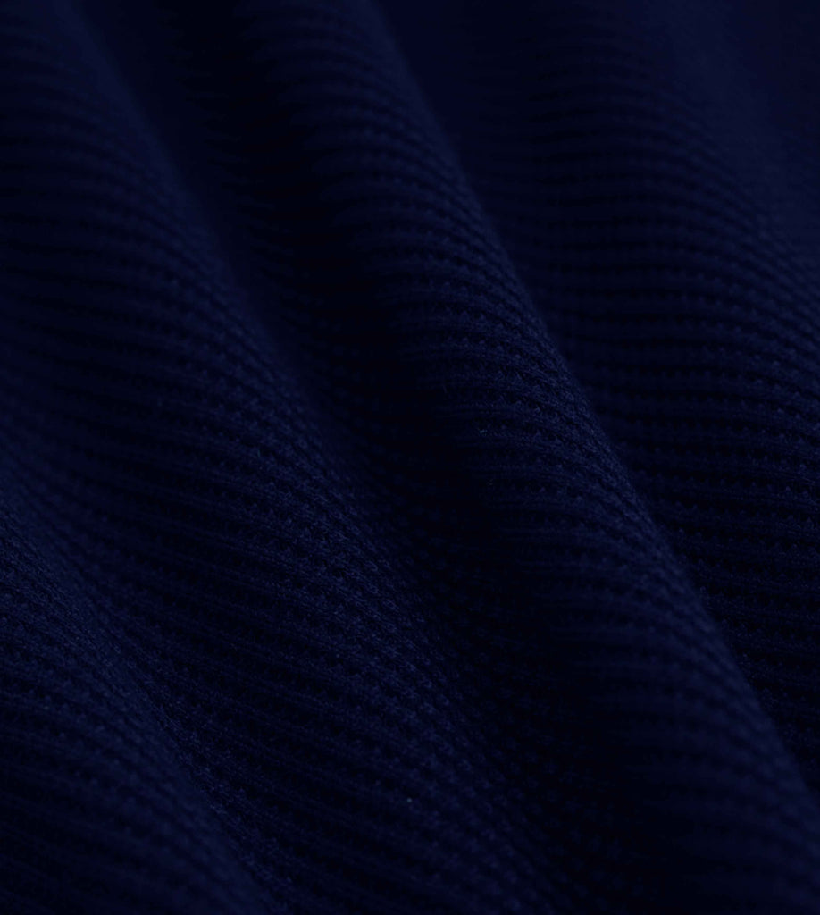 Premium Waffle Henley Tee (Navy Blue) - Detailed Shot