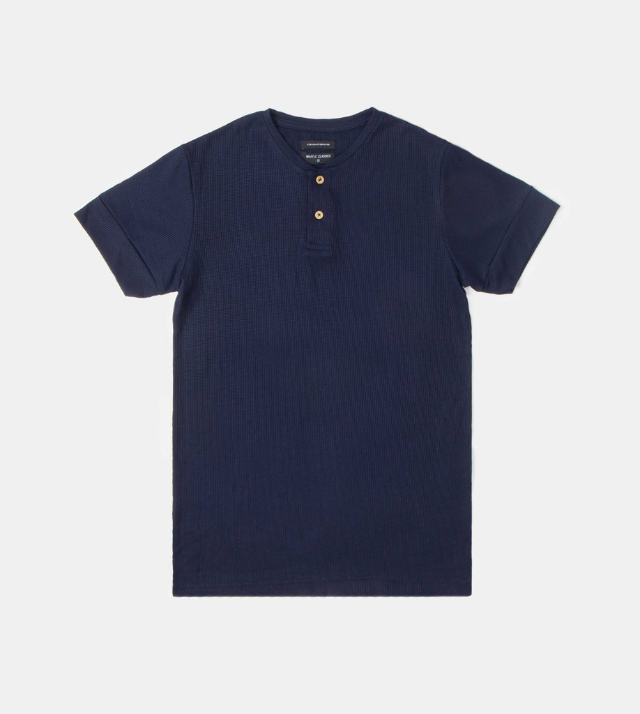Premium Waffle Henley Tee (Navy Blue) - Product Shot