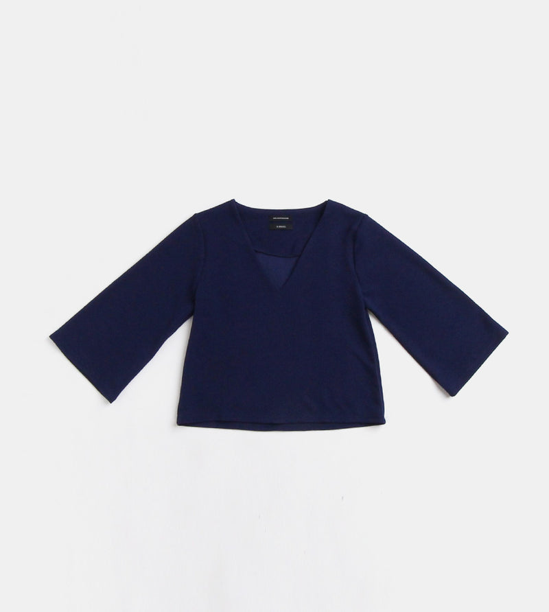 V-Neck Blouse (Navy Blue) - Front