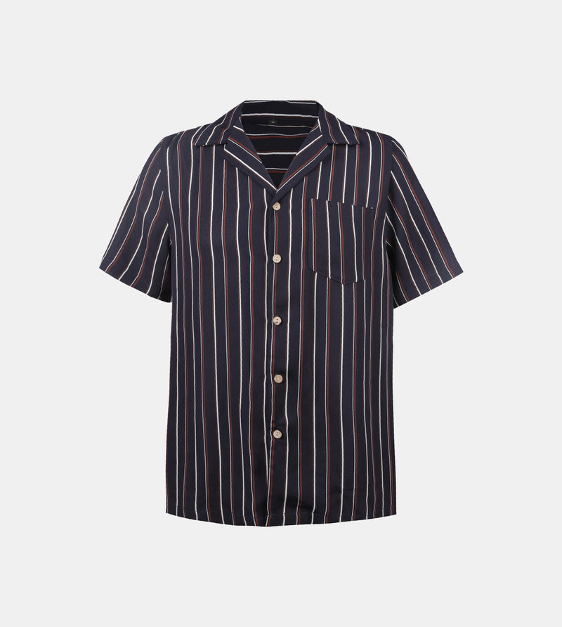 Tenerife Cuban Shirt (Navy Blue)