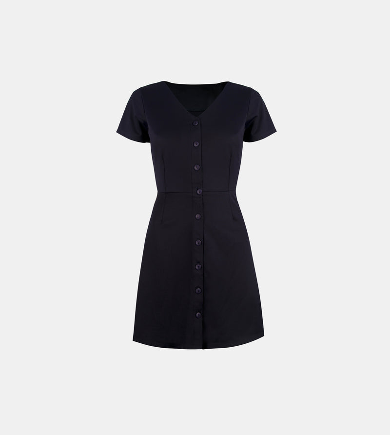 Satin Ribbed Knit Button Down Dress (Navy Blue)