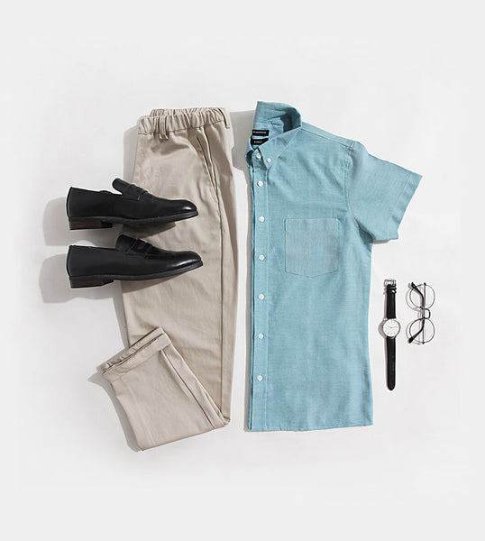 Work & Play Button Down (Teal)