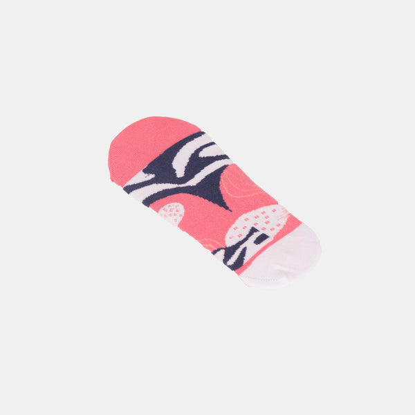 Patterned Footsocks (White / Pink)