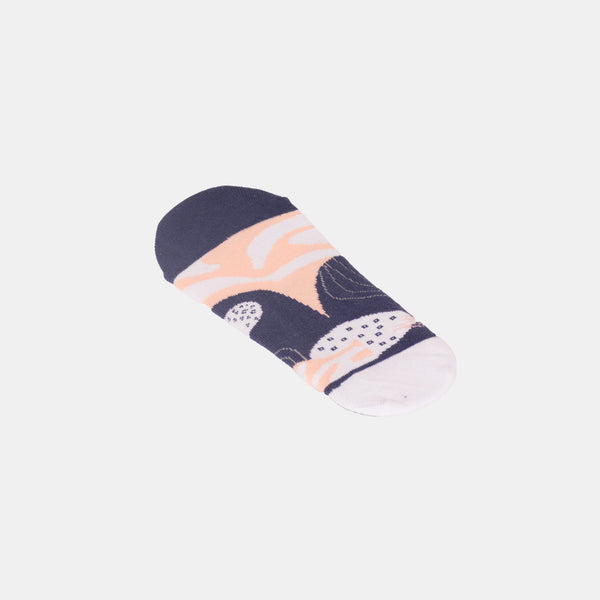 Patterned Footsocks (White / Purple)