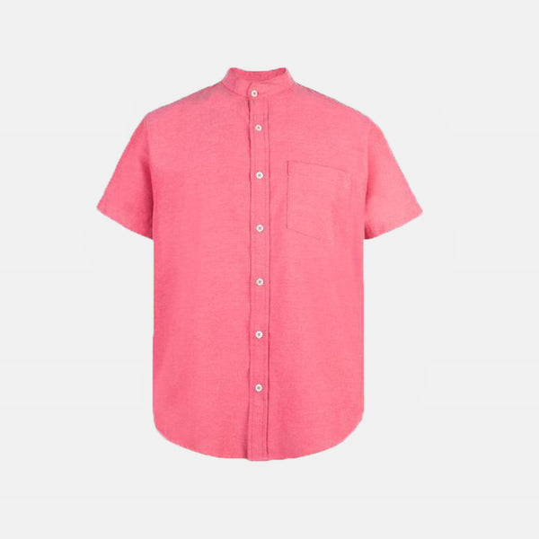 Japanese Chambray Mandarin Collar (Red)
