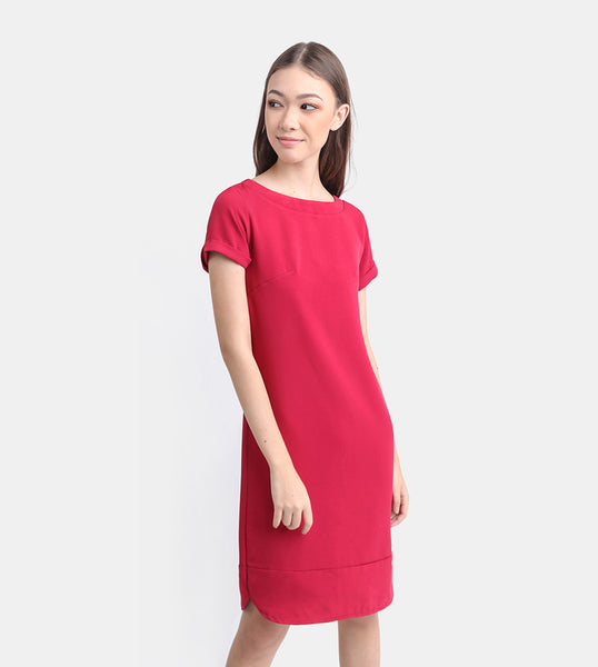 The Classic Stretch Tee Dress (Red)