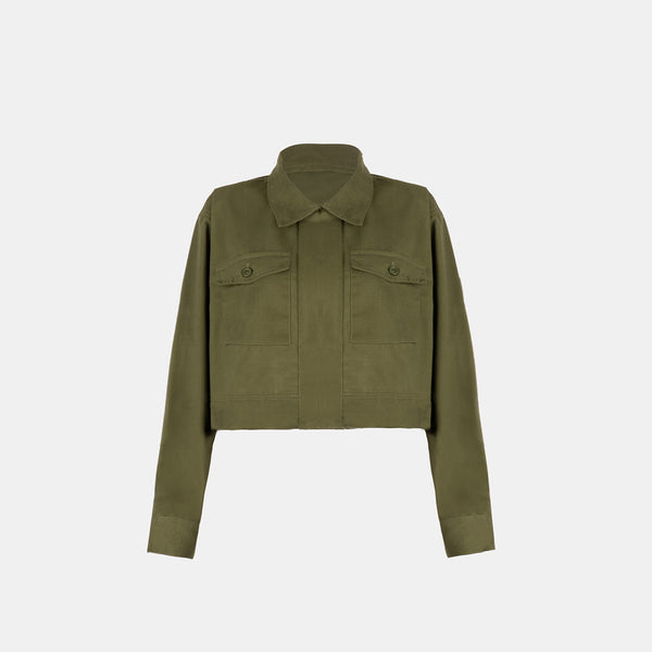 Soft Twill Boxy Jacket (Olive Green)