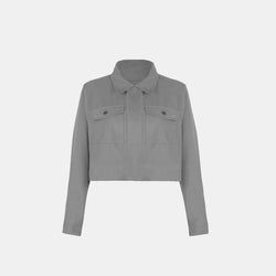 Soft Twill Boxy Jacket (Gray)