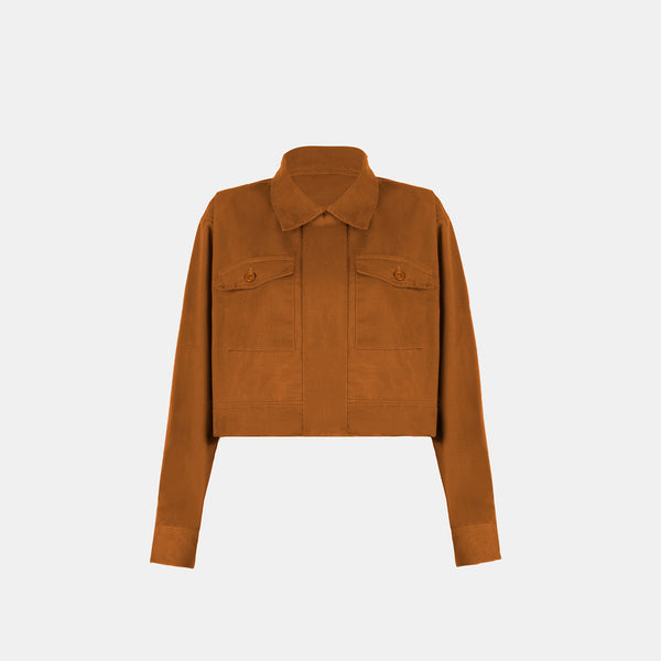 Soft Twill Boxy Jacket (Gold Rust)