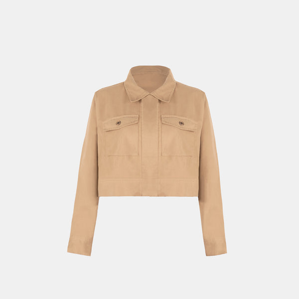 Soft Twill Boxy Jacket (Beige)