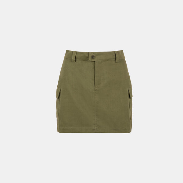 Everyday Twill Stamp Skirt (Olive Green)