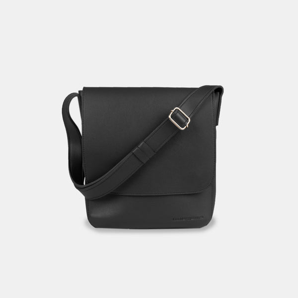D.V.L. Minimalist Flap Sling Bag (Black)
