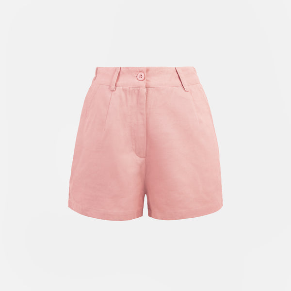 Everyday Cotton Twill Pleated Shorts (Blush)